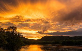 Golden Crown over Lower Wisconsin River - sunset photo
