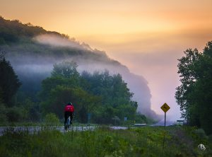 road cycling on a foggy morning (c) Timothy Jacobson
