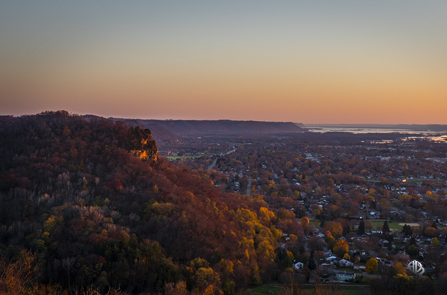 Cliffwood Bluff above La Crosse at dusk (c) Timothy Jacobson
