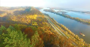 Upper Mississippi River and scenic bluffs in autumn - aerial view
