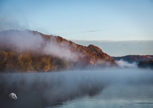 Wisconsin River bluff shrouded by fog on autumn morning (c) Timothy Jacobson