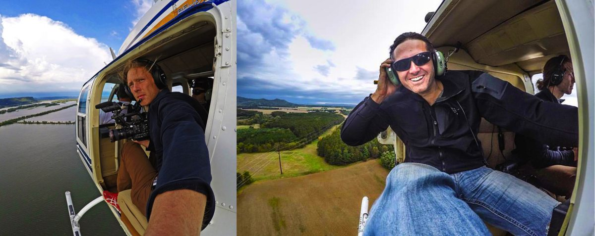 Jonas Stenstrom and Rob Nelson filming from helicopter