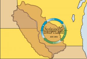 Sustainable Driftless logo over map of the Driftless