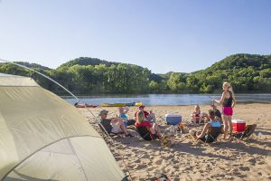 Camping on a Lower Wisconsin River sandbar with friends