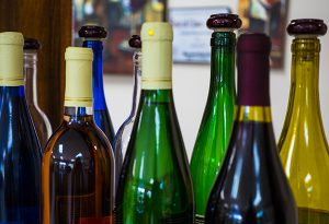wine bottles closeup