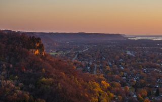 Cliffwood Bluff at Dusk overlooking La Crosse, Wis.
